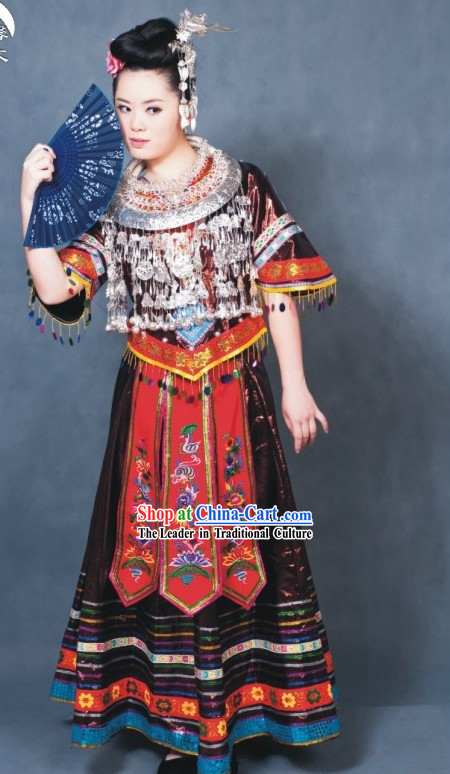 China Miao Tribe Festival Dance Costume Complete Set