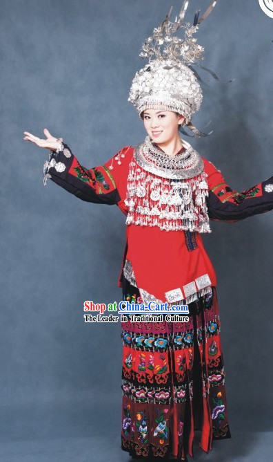 Chinese Miao Clothes and Silver Hat Set for Women