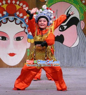 Chinese Peking Opera Dance Costume and Hat Set for Children