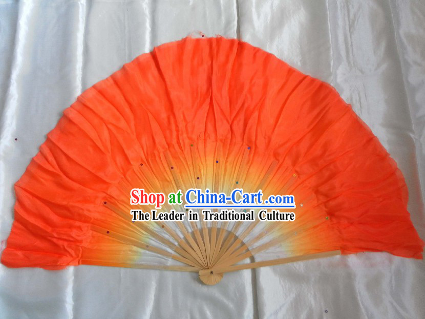 Supreme Bamboo Handle Chinese Traditional Silk Dance Fan _orange_