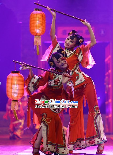 Chinese New Year Lantern Dance Costumes, Head Pieces, Shoes and Lantern
