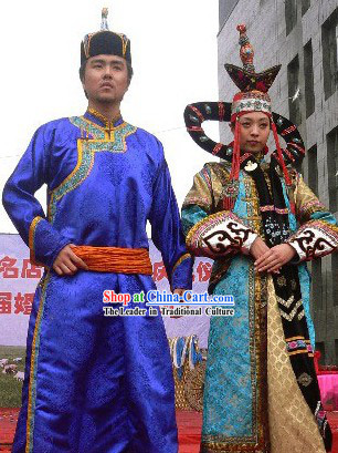 Mongolian Traditional Clothes Two Sets for Men and Women