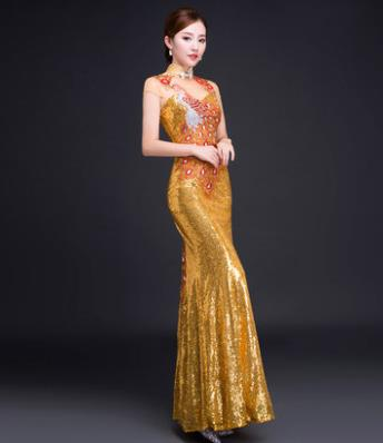 Chinese Classical Golden Silk Peony Cheongsam