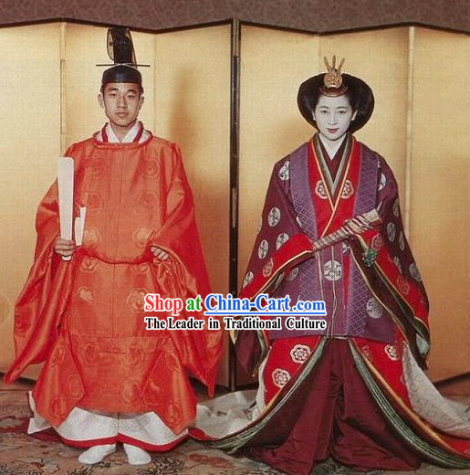 Japanese Ancient Emperor and Empress Clothes Two Sets