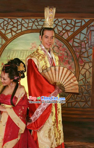 Traditional Chinese Wedding Hanfu Dress and Coronet Complete Set