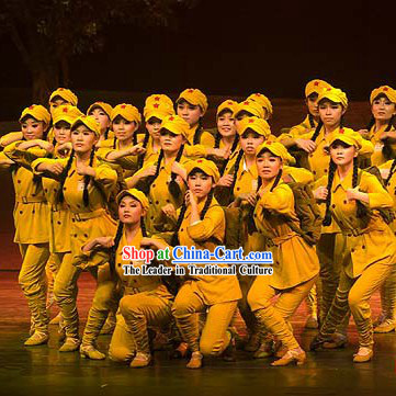 Chinese Eighth Route Red Army Costumes and Hat Complete Set