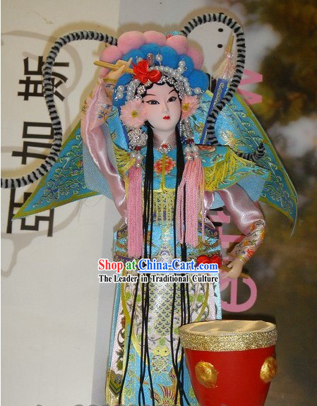 Handmade Peking Silk Figurine Doll - Beijing Opera Drummer Lady and Drum Set