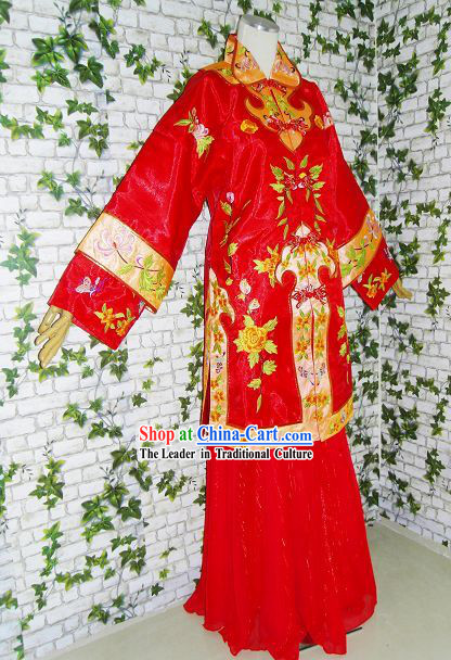 Chinese Classical Mandarin Lucky Red Wedding Dress