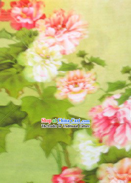 Traditional Peony Silk Fabric