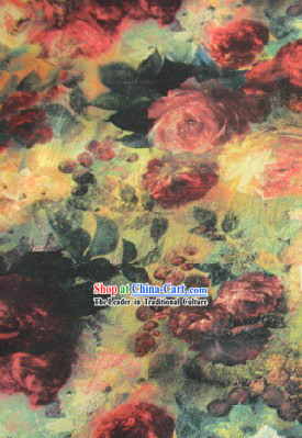Oilpainting Rose Silk Fabric