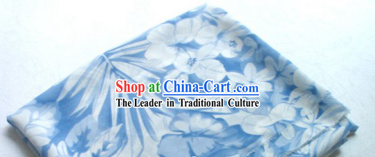 Light Blue Flower Silk Fabric