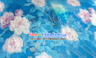 Classical White Lotus Blue Silk Fabric