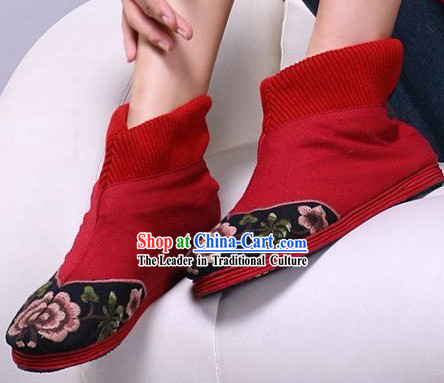 Chinese Handmade Embroidered Red Short Boots