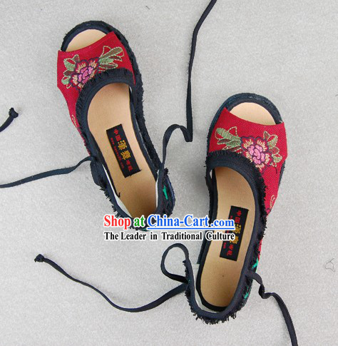 Traditional Red Embroidered Summer Shoes