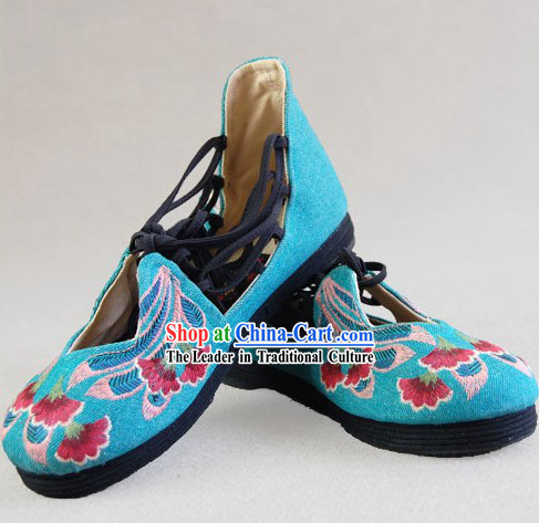 Chinese Embroidered Peacock Cloth Boots