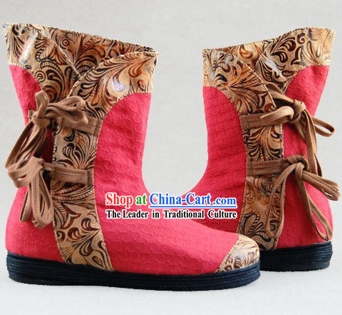 Chinese Embroidery Boots / Handmade Red Boots
