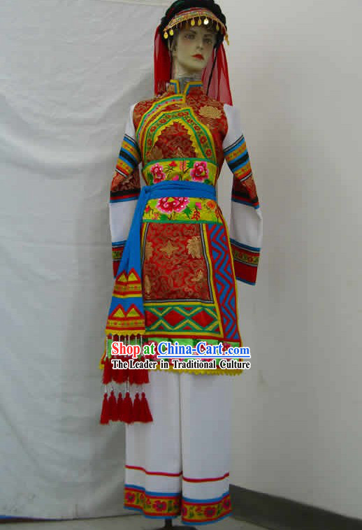 Chinese Classical Minority Ethnic Dance Costume Complete Set