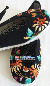 Chinese Handmade Chrysanthemum Embroidery Shoes