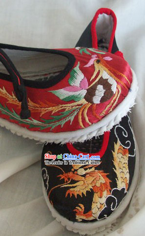 Chinese Traditional Embroidery Dragon Phoenix Wedding Shoes