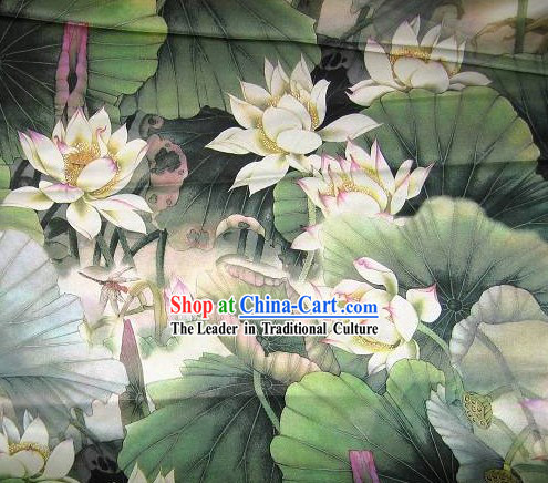 Chinese Classical Green Lotus Silk Fabric
