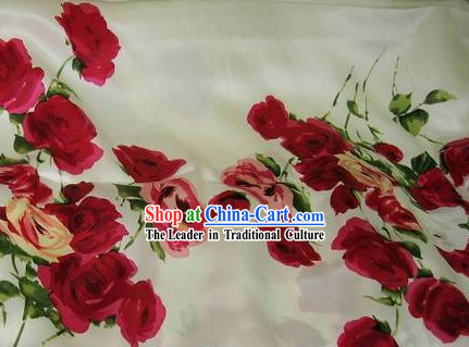 Chinese Pure Silk Rose Fabric