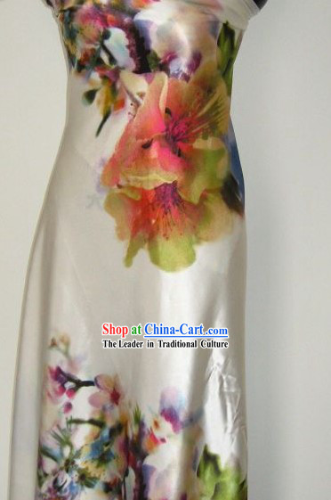Chinese Pure Silk Large Flower Fabric