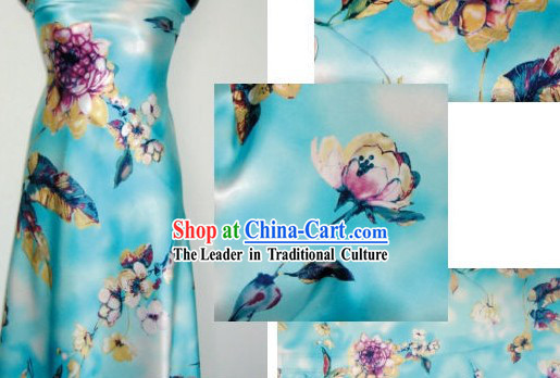 Chinese Pure Silk Flower Fabric
