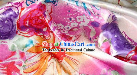 Traditional Chinese Pink Flower Silk Fabric