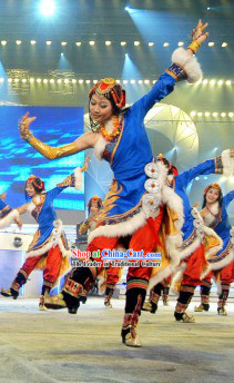 Zha Xi De Le Tibetan Dance Costume for Women