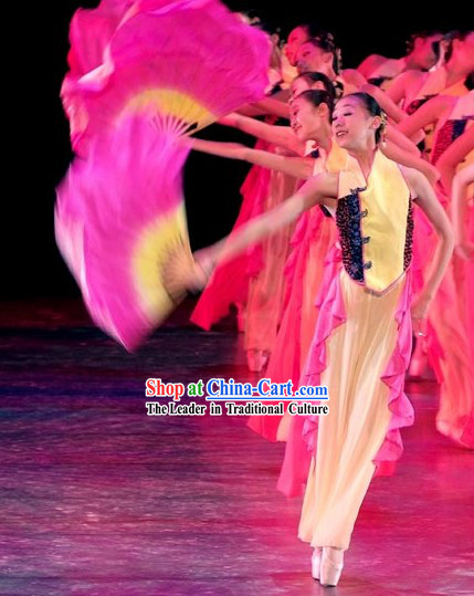 Traditional Chinese Fan Dance Costume and Fan Complete Set