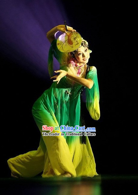 Ancient Chinese Fan Dance Costume Complete Set