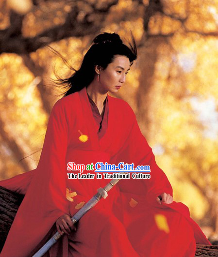 Chinese Qin Dynasty Period Film Hero Maggie Cheung Swordswoman Clothing Complete Set for Women