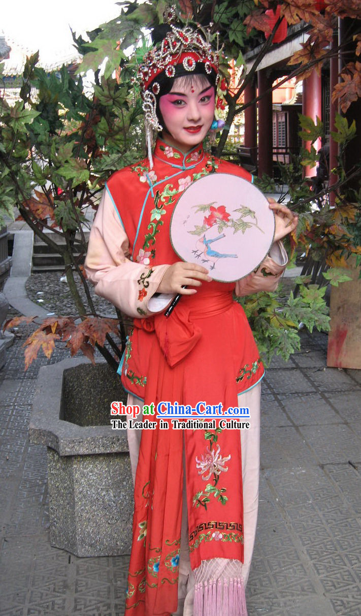 Chinese Peking Opera Costume and Fan Set