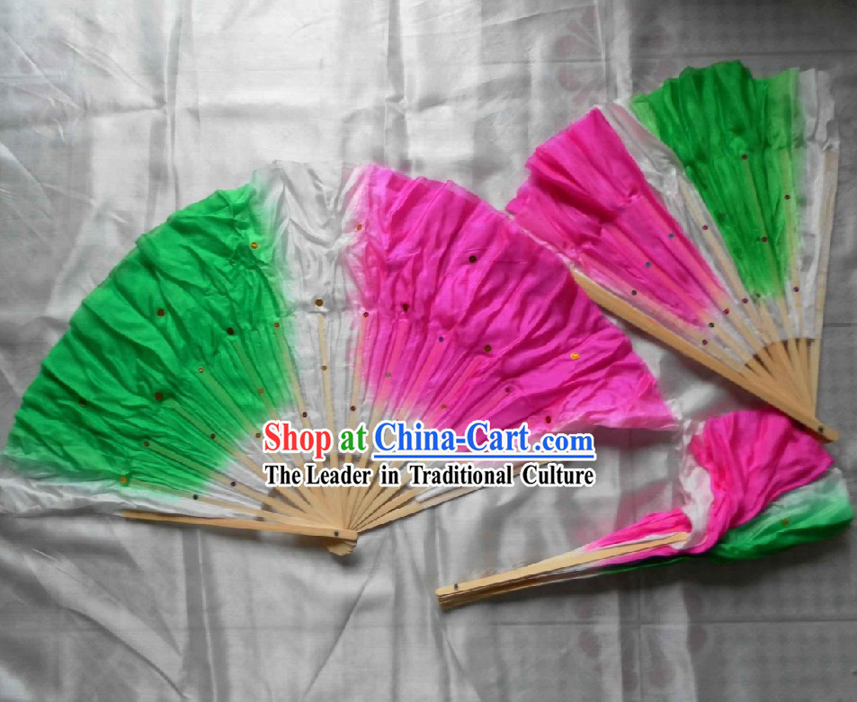 Chinese Pink and Green Dance Fan