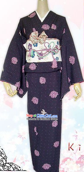 Traditional Japanese Kimono Komon Complete Set