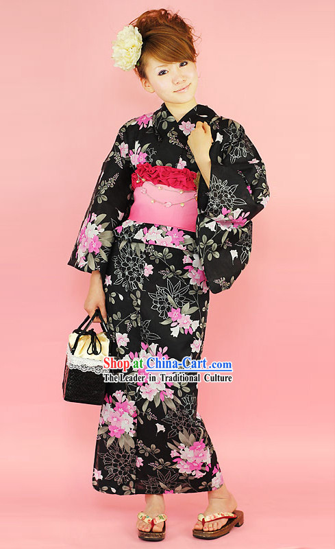 Japanese Traditiona Female Yukata Kimono Dress Complete Set