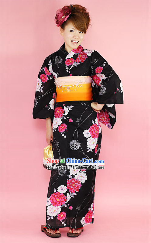 Japanese Traditiona Yukata Kimono Dress Complete Set for Women