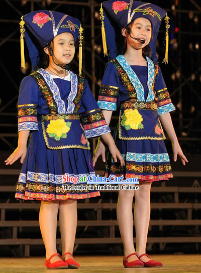 Chinese Minority Dance Costume and Hat for Children