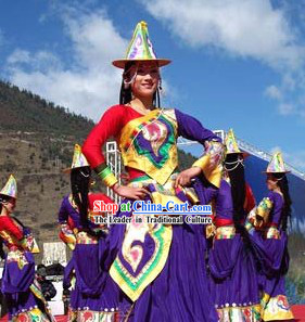 Supreme Chinese Traditional Tibetan Minority Dance Costumes and Hat for Women