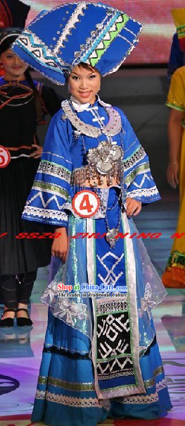 Chinese Traditional Zhuang Minority Dance Costumes and Hat for Women