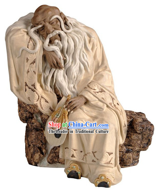 Chinese Classic Shiwan Ceramics Statue Arts Collection - Laozi Thinking