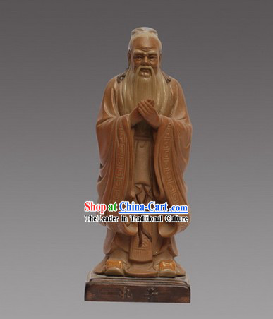 Chinese Classic Shiwan Statue Collection Zhuangzi Mengzi Kongzi Mozi Laozi Set