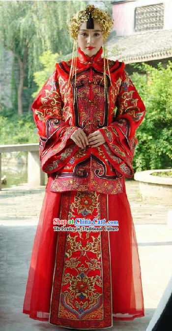 Chinese Stunning Mandarin Lucky Red Wedding Dress for Bride
