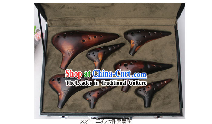 Chinese Musical Instrument Taodi Pottery Lute Set