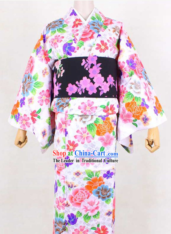 Japanese Classical Geisha Kimono Complete Set for Women