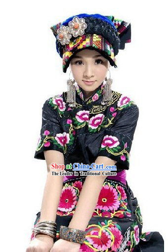 Chinese Qiang Minority Costume and Hat Set