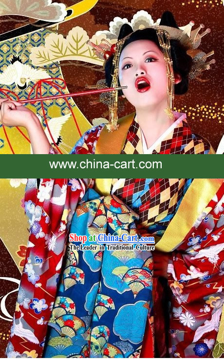 Traditional Japanese Geisha Costume Complete Set