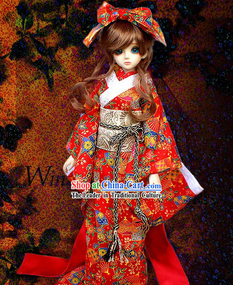 Traditional Japanese Kimono Costume Complete Set