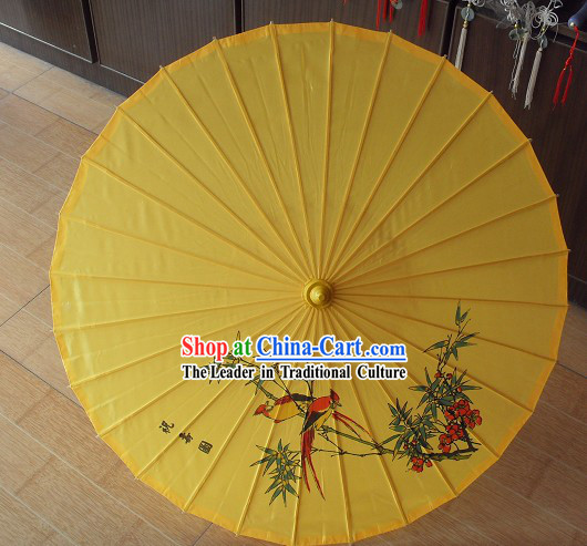 Chinese Flower and Bird Silk Dance Umbrella