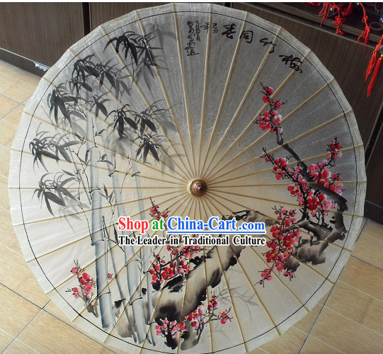 Chinese Classical Bamboo and Plum Blossom Painting Umbrella